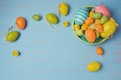 Easter holiday background with egg decorations. View from above Royalty Free Stock Image