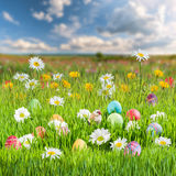 Easter Holiday Background. With eggs and flowers Royalty Free Stock Photography