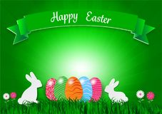 Easter holiday background with eggs on green grass and white rabbit , vector illustration.  Royalty Free Stock Photos