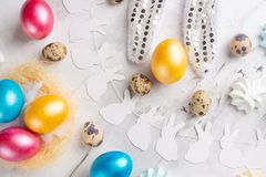 Easter holiday background. Flat lay of natural colored eggs, top view, copy space, horizontal composition. Background.  stock images