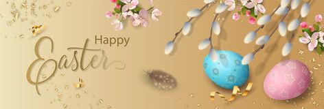 Easter Holiday Banner. Happy Easter background with painted eggs, cherry blossom, willow branches and feathers. Website header or banner design vector illustration