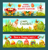 Easter Holiday banner set with decorated eggs. Cheerful Easter Holiday banner set. Easter eggs on grass with egg hunt basket, chicken and chick, spring flower Royalty Free Stock Images