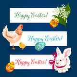 Easter holiday banner set with egg, bunny, chicken. Easter holiday festive banner set. Easter egg with ornament, white rabbit bunny with ribbon bow, chicken with Royalty Free Stock Photos