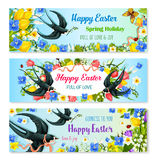 Easter holiday banner with spring flower and bird Royalty Free Stock Image