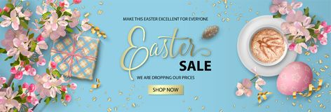 Easter Holiday Banner. Website header or banner design. Happy Easter sale banner. Holiday background with painted eggs, gift, cherry blossom branches and cup of vector illustration
