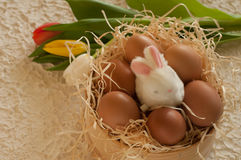 Easter holiday basket with eggs, flowers and easter bunny on rustic wooden Stock Photography
