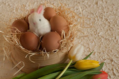 Easter holiday basket with eggs, flowers and easter bunny on rustic wooden Royalty Free Stock Images