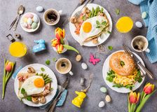Easter holiday breakfast flat lay Royalty Free Stock Image