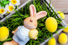 Easter holiday bunny with eggs and flowers Royalty Free Stock Image