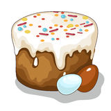Easter holiday cake and painted eggs. Vector Royalty Free Stock Images