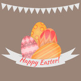 Easter holiday  card with colorful eggs flat, Happy Easter design elements, decoration for celebration Royalty Free Stock Photos