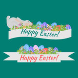 Easter holiday card with colorful eggs, flowers and rabbit flat, Happy Easter floral ribbon with bunny design elements, decoration Stock Photos