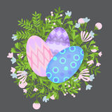 Easter holiday  card with colorful eggs and wreath flat, Happy Easter design elements, decoration for celebration Royalty Free Stock Photo