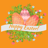 Easter holiday card with colorful eggs and wreath flat, Happy Easter design elements, decoration for celebration Royalty Free Stock Image