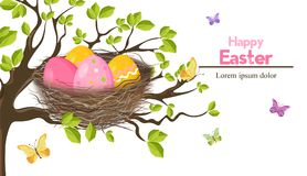 Easter holiday card with Eggs nest Vector. Spring themes. Decor royalty free illustration