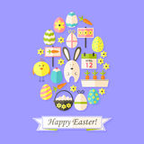 Easter Holiday Card with Flat Icons Set Egg shaped Royalty Free Stock Images