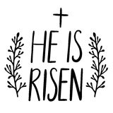 Easter holiday celebration. He Is Risen handwriting lettering design Royalty Free Stock Photo