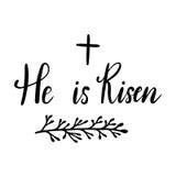 Easter holiday celebration. He Is Risen handwriting lettering design Stock Image