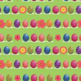 Easter Egg and Spring Flowers In-Line Seamless Pattern. vector illustration