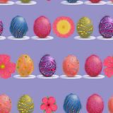 Easter Egg and Spring Flowers In-Line Seamless Pattern. stock illustration