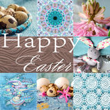 Easter holiday collage with hyacinth, flower, rabbit, quail eggs and abstract painting. Stock Photo