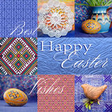 Easter holiday collage with napkin on wooden background, easter egg, jug, abstract patterns, and clay whistle. Stock Photography