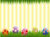 Easter holiday colorful easter eggs yellow stripe Royalty Free Stock Photography