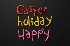 Easter Holiday Composition in White, Black, Pink, Red and Yellow Stock Images