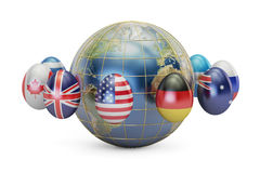 Easter holiday concept. Eggs with flags around the Earth, 3D  Stock Image
