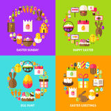 Easter Holiday Concepts Set. Poster Design Vector Illustration. Collection of Spring Objects Royalty Free Stock Images