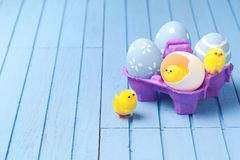 Easter holiday creative background with painted eggs Stock Image
