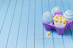 Easter holiday creative background with painted eggs Stock Photo