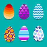Easter Holiday Decorated Colorful Eggs Set Collection. Vector Illustration royalty free illustration