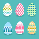 Easter Holiday Decorated Colorful Eggs Set Collection. Vector Illustration stock illustration