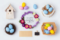 Easter holiday decorations for mock up template design. View from above. Royalty Free Stock Photos
