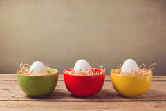 Easter holiday decorations on wooden table Stock Images