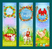Easter Holiday and Egg Hunt banner template set Royalty Free Stock Images