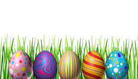 Easter holiday Eggs Decoration. With five colored festive spring ovals in a row in celebration of a religious and traditional cultural event representing Stock Photos