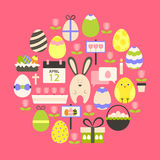 Easter holiday Flat Icons Set over dark pink Stock Image