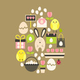 Easter holiday Flat Icons Set over light brown Stock Images