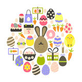 Easter holiday Flat Icons Set over white Royalty Free Stock Photo
