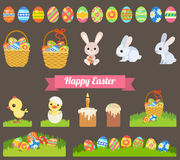 Easter holiday flat style icon set. Flat Easter holiday modern style design vector icon set celebration decoration template. Decorative elements objects painted Royalty Free Stock Photography