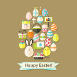 Easter Holiday Greeting Card with Flat Icons Egg shaped. Greeting card Flat styled with shadows Royalty Free Stock Photo