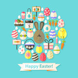 Easter Holiday Greeting Card with Flat Icons Set circular shaped. Greeting card Flat styled with shadows Royalty Free Stock Images