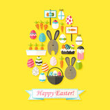 Easter Holiday Greeting Card with Flat Icons Set Egg shaped. Greeting card Flat styled with shadows Royalty Free Stock Photo