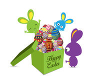 Easter Holiday Greeting Card with gift Set Egg shaped and bunny Stock Photo