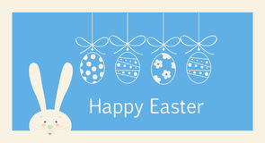 Easter Holiday greeting card. Happy Easter Holiday greeting card, Happy Easter Holiday, Easter Egg and Rabbit and ribbon, Easter Bunny. Greeting card light blue royalty free illustration