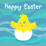 Easter Holiday Greeting Card With New Born Chicken Egg Abstract Background Flat Stock Photos