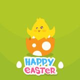 Easter Holiday Greeting Card With New Born Chicken Egg Flat. Vector Illustration Royalty Free Stock Image