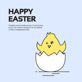 Easter Holiday Greeting Card With New Born Chicken Egg. Vector Illustration Stock Photos